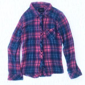 Rails Hunter Button Down Pink Purple Blue S